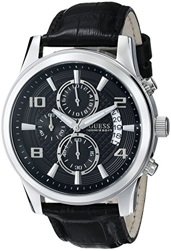GUESS-Mens-U0076G1-Black-Classic-Crocodile-Grained-Leather-Strap-Chronograph-Watch