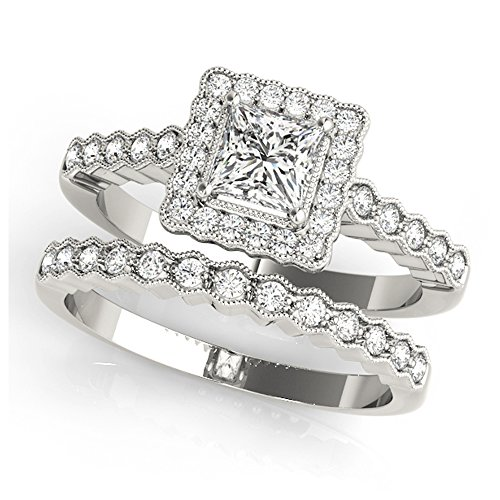 14K White Gold Unique Wedding Diamond Bridal Set Style MT51024