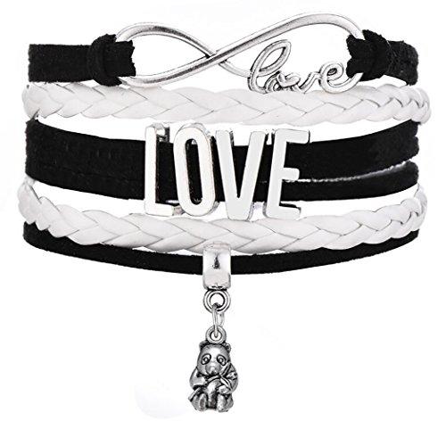 Legemeton Infinity Love Multi-Layer Woven Bracelets With Panda Charm Fit For Women Gift (Black) by Legemeton