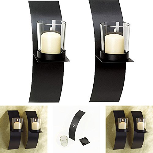 Adorox (Set of Two) Black Metal Wall Sconce Candle Holder...