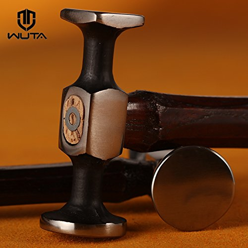 WUTA Leather Steel Hammer Chasing Planishing Mallet Flat Face Hardwood Handle Leather Craft Tool