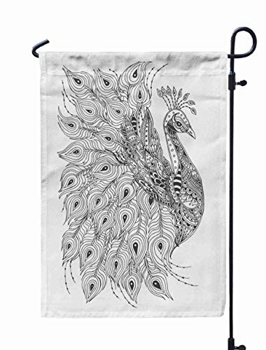 Jacrane Welcome Small Garden Flag 12X18 Inches Peacock Ethnic Floral Doodle Pattern Coloring Page Meditation Adults Isolated White Background Double-Sided Seasonal House Yard Flags Decorative