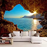 hwhz Custom Mural Wallpaper 3D Stereo Seaside Landscape Reef Cave Fresco Living Room Bedroom Space Expansion Background Wall Paper 3D-350X250Cm