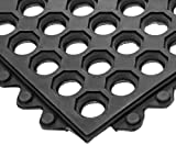 NoTrax T32 General Purpose Rubber Safety/Anti-Fatigue Ultra Mat, for Wet Areas, 3' Width x 5' Length x 1/2' Thickness, Black