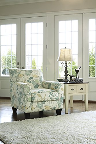 Ashley Furniture Signature Design - Daystar Accent Chair - Contemporary Floral Pattern - Seafoam (Ottoman Chair Upholstered With)