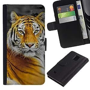 Paccase / Billetera de Cuero Caso del tirón Titular de la tarjeta Carcasa Funda para - Tiger Big Cat Jungle Nature Orange Yellow - Samsung Galaxy Note 4 SM-N910
