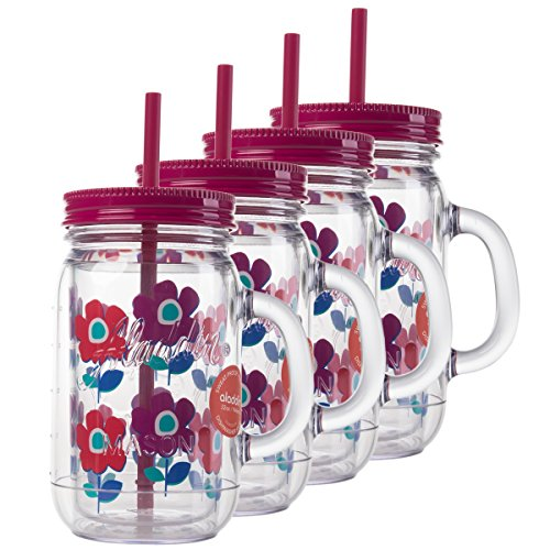 Aladdin 4 Pack 32oz Plastic Mason Jar Set Handled Lidded Tumbler Drinking Cup Mug Glasses & Straws