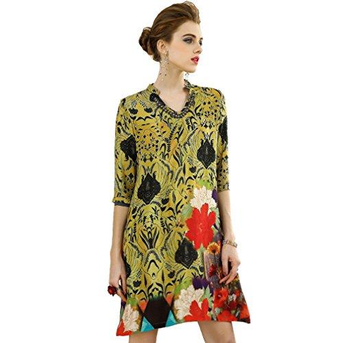 Cotylédons Women`s Robes Amples Manches 3/4 Costume Coloré Robe De Plage V Cou Pour L'automne Printemps Jaune