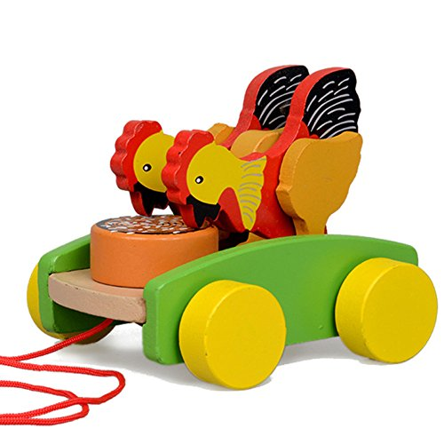 For Sale! YUYUGO Wooden Pull Toy Kids Walk Along Toddler Toy for Children ,Chicken