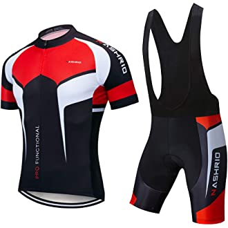 Mens Cycle Jersey /& Shorts Set Striped Stripey Red White Black Cycling Clothing