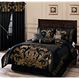 Chezmoi Collection 7-Piece Jacquard Floral Comforter Set Bed-in-a-Bag, California King, Black/Gold