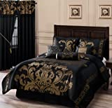 Chezmoi Collection 7-Piece Jacquard Floral Comforter Set Bed-in-a-Bag,...