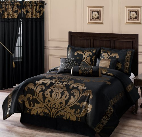Chezmoi Collection 7-Piece Jacquard Floral Comforter Set/Bed-in-a-Bag Set, King, Black Gold (King Comforter Set Collection)