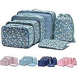 Arxus 6 Set Packing Cubes Travel Luggage Waterproof Organizers (Flower Print)