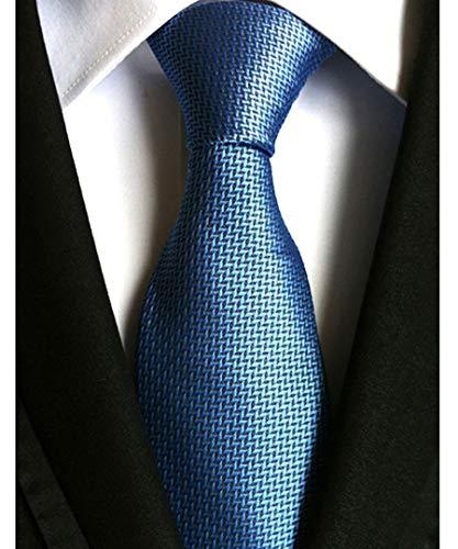 Men's Classic Checks Blue Jacquard Woven Silk Tie Necktie