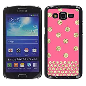 Paccase / SLIM PC / Aliminium Casa Carcasa Funda Case Cover para - Polka Dot Gold Pink Glitter Yellow Pattern - Samsung Galaxy Grand 2 SM-G7102 SM-G7105