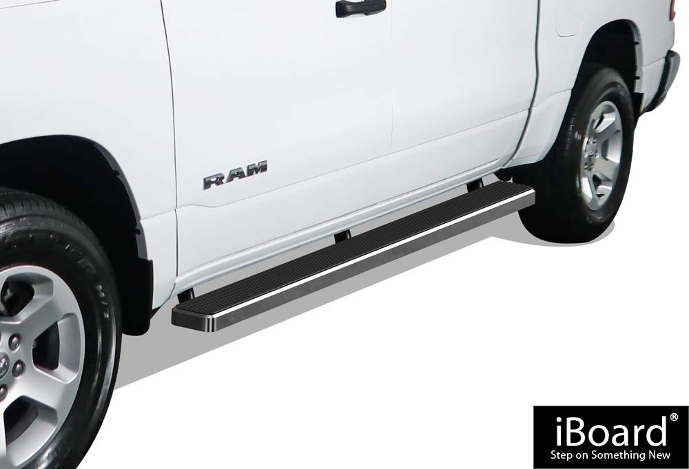 APS iBoard Running Boards (Nerf Bars | Side Steps | Step Bars) for 2019-2020 Ram 1500 Crew Cab Pickup 4Dr | (Silver 5 inches)
