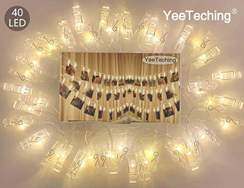 Yeeteching Clip String Light, 40 Photo Clip String Lights for Bedroom,String Lights with Clip for Hanging Photos Pictures,Cards, Artwork,Indoor Decor Party Wedding ()