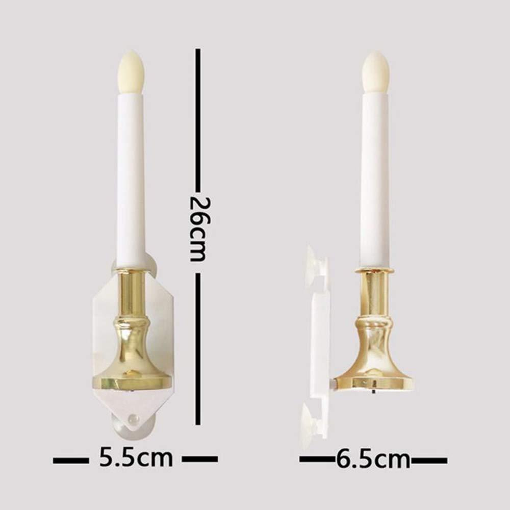 Forma de vela con lámpara de pared sensor sensor sensor de luz solar con ventosa dormitorio lámpara de pared pasillo interior iluminación decoración sencilla lámpara de pared f00e60
