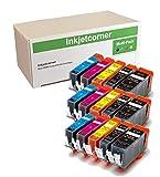 Inkjetcorner 15 Pack Compatible Ink Cartridge Replacement Pixma Series MX920 MG5620 MG5622 MG6620 iX6820 MG6600 (3 Big Black 3 Small Black 3 Cyan 3 Magenta 3 Yellow)