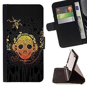 BullDog Case - FOR/Samsung Galaxy A3 / - / skull art headphones skeleton lizzard yellow /- Monedero de cuero de la PU Llevar cubierta de la caja con el ID Credit Card Slots Flip funda de cuer