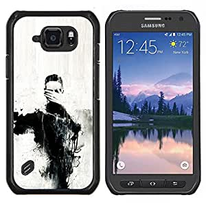 Cubierta protectora del caso de Shell Plástico    Samsung Galaxy S6 Active G890A    Arte Ojos Pintura Mano Carbón @XPTECH