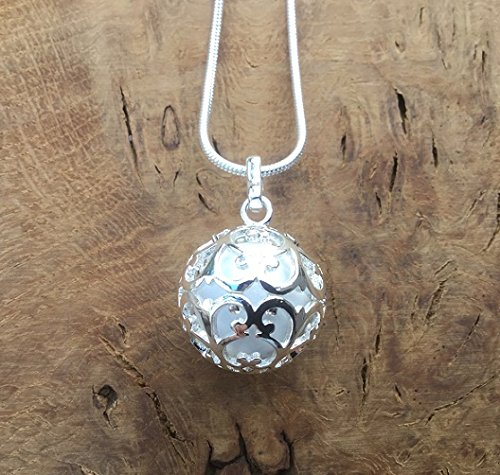 Silver Round Lace Cage with White Bola l Harmony Ball Necklace Kit l 'Mexican Bola' l A Lovely Pregnancy Gift
