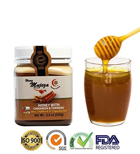 Mujeza Raw Honey with Ceylon Cinnamon & Turmeric - {Save Almost $10 on Bigger size} Pure Natural Honey - Unheated & Unfiltered - Kosher Certified عسل المعجزة - عسل نحل طبيعي (250g / 8.8oz ()