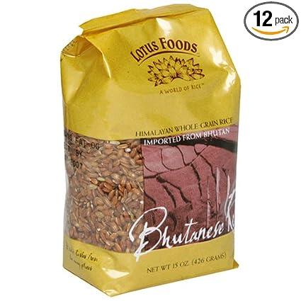 Lotus Alimentos Bhutanese, 15-ounce bolsas de arroz rojo (12 ...