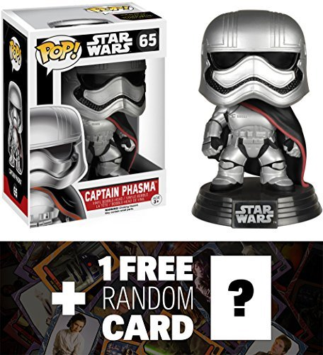 Star Wars Captain Phasma: Funko POP! x Vinyl Bobble-Head Figure w/ Stand + 1 Free Official Trading Card Bundle [62262]