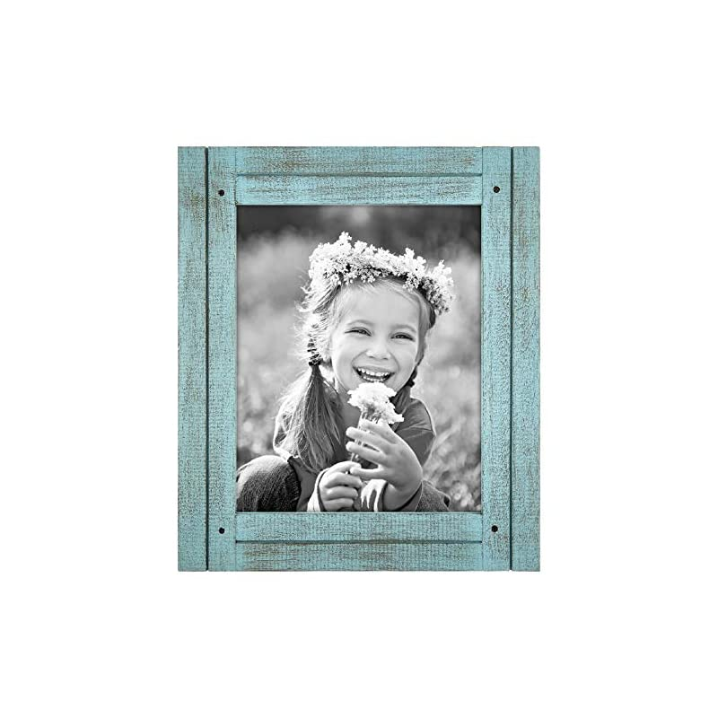 Americanflat 8x10 Rustic Picture Frame in Turquoise Blue with Textured Wood and Polished Glass - Horizontal and Vertical…