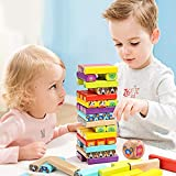 Top Bright Wooden Blocks Stacking Board Game Cartoon Colored Building Blocks for Kids-51pcs