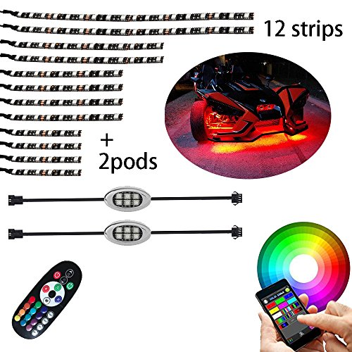 14Pcs Motorcycle LED Light Kit Strips Multi-Color Accent Glow Neon Lights Motorcycle Cellphone app Bluetooth Controller led motorcycle atv lights with Music Sync for motorcycle,ATV,golf Car ()