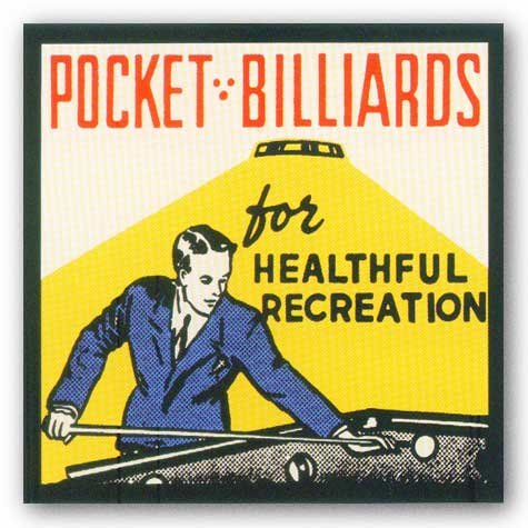 Pocket Billiards for Healthful Recreation Art Print Art Poster Print, 12x12