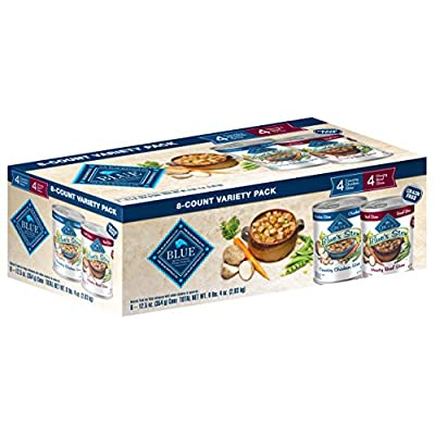 Blue Buffalo Stew Grain Free Natural Adult Wet Dog Food Variety Pack, Chicken Stew & Beef Stew 12.5-oz can (8 Count- 4 of Each Flavor)