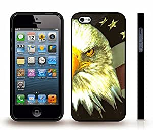 iStar Cases? iPhone 5/5S Case with Bald Headed Eagle Patriotic Symbol Design , Snap-on Cover, Hard Carrying Case (Black)