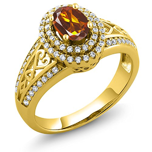Red Madeira Citrine 18K Yellow Gold Plated Silver Ring ()