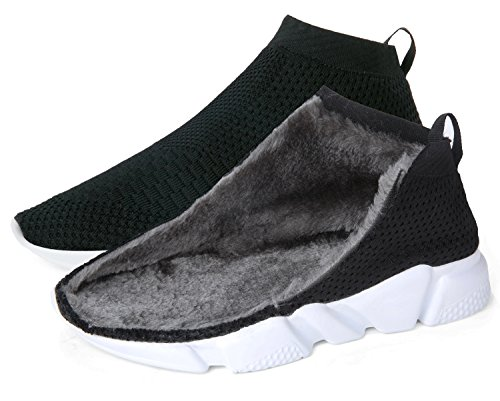 Cotton Womens Shoes - Women's Casual Knitted Breathable Winter Warm Cotton-Padded Shoes Lightweight Loafers Fashion Sneakers Walking Shoes,Black,10 D(M) US