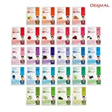 DERMAL Collagen Essence Full Face Facial Mask Sheet 26 Red & Green Combo Pack - Skin Elasticity, Soothing