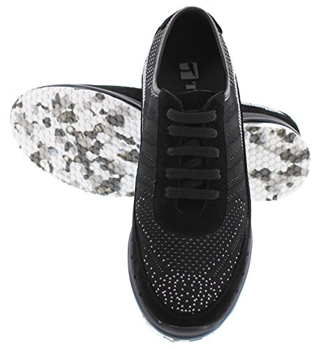 Toto D22033-2,4 Pollici Più Alto - Altezza Aumentando Le Scarpe Ascensore - Sneakers Nere Moda Leggera