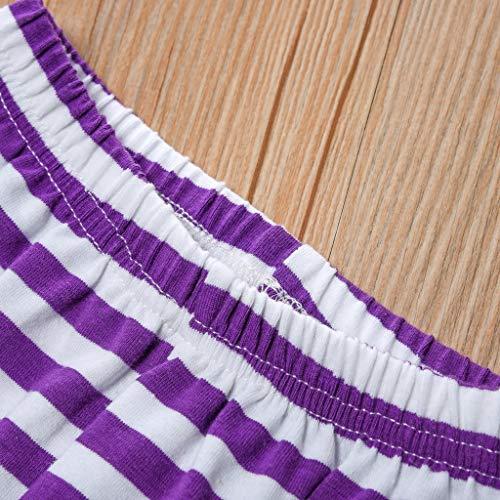 NUWFOR Newborn Kid Baby Girls Short Sleeve Print Tops+Stripe Pants Outfits Set(Purple,4-5 Years) by NUWFOR (Image #3)
