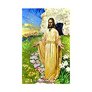 Jesus Has Risen Easter House Flag Religious Decorative Floral Banner decorative flags initial flags party flags 28 x 40 Inch Double Sided banner home flags Print flags