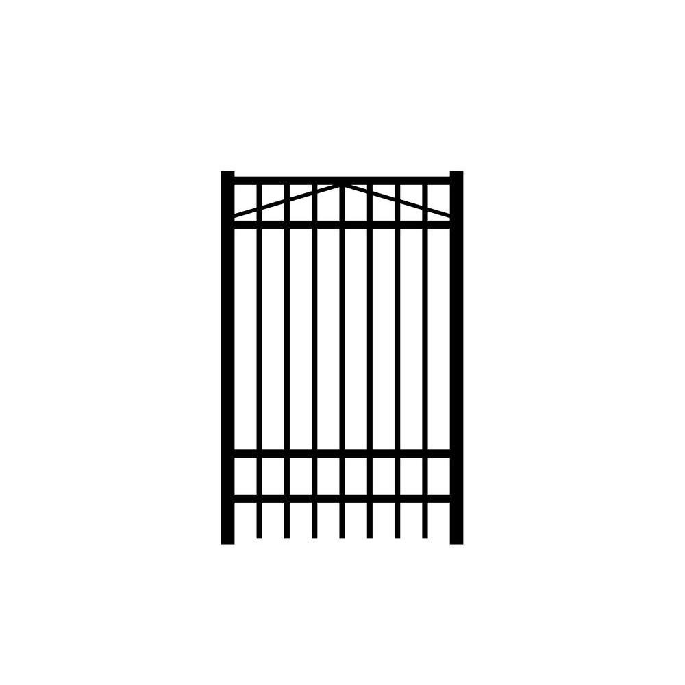 Jefferson 3 ft. x 6 ft. Black Aluminum Single Walk Gate