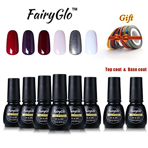 FairyGlo 6 Color Combo Nail Polish Top Base Coat Striping Roll Tape Soak Off UV LED Gel Manicure Collection Perfect Christmas Gift Set DIY 7ML (French Collection Roll)