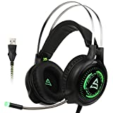 [Newly Updated Version] Supsoo SU815 Gaming headphone Computer Over Ear Stereo Gaming Headsets With Microphone Noise Isolating Volume Control LED Light For PC & MAC(Black&Green)