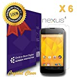 OBiDi - Google Nexus 4 Screen Protector, Crystal Clear / Transparent - OBD Retail Packaging (Pack of 6)