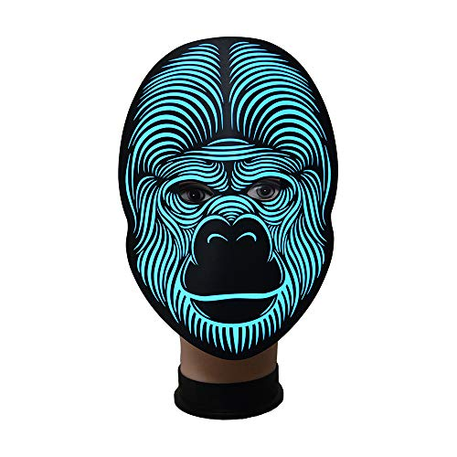 Zhanghaidong Halloween Costume Mask Luminous Skull Full Face Mask Cosplay Masquerade Scary Wire LED Light Flashing Mask Glow in Dark for Carnival Festival Party