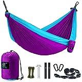 Camping Hammock, LAX Portable Double Durable Hammock Backpacking, Travel, Hiking, Beach, Yard, Multi-Functional Lightweight Nylon Parachute Hammocks Heavy Duty Straps, Carabiners, Ropes