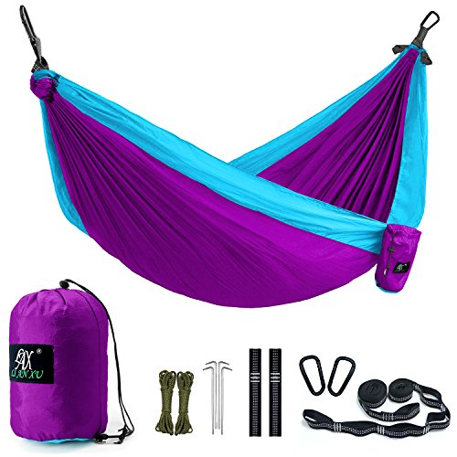 (Camping Hammock, LAX Portable Double Durable Hammock for Backpacking, Travel, Hiking, Beach, Yard, Multi-Functional Lightweight Nylon Parachute Hammocks with Heavy Duty Straps, Carabiners, Ropes)