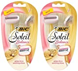 Bic Soleil Balance Razor For Women - Moisture Bars With Shea Butter - 2 Count Razors Per Package - Pack of 2 Packages